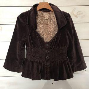 Anthropologie Jackets & Coats - Elevenses | Brown Velvet Waxwing Victorian Jacket